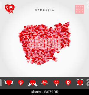 I Love Cambodia. Red and Pink Hearts Pattern Map of Cambodia Isolated on Grey Background. Love Icon Set. - Stock Image