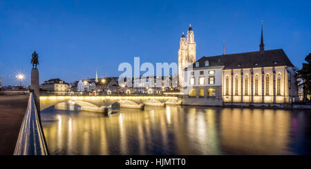 Grossmunster, cathedral,  river Limmat, Munster bridge, water church, christmas illumination, Zurich, Switzerland - Stock Image