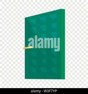 Green house door icon, cartoon style - Stock Image