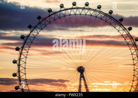 London England United Kingdom Great Britain Lambeth South Bank London Eye giant Ferris wheel observation wheel attraction Marks Barfield Architects su - Stock Image