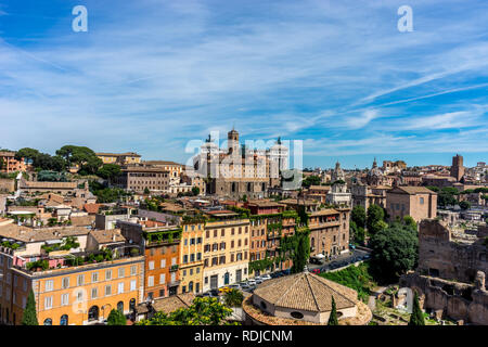Rome, Italy - 24 June 2018: The cityscape skyline of Rome viewed from Palatine hill,Roman Forum - Stock Image