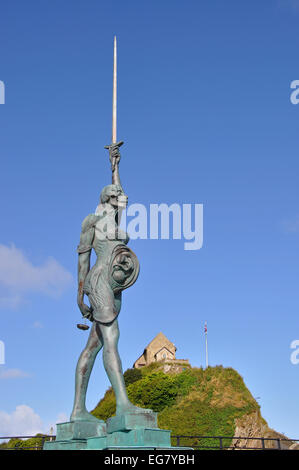 Verity, a sculpture by Damien Hirst, Ilfracombe, Devon, England, UK - Stock Image