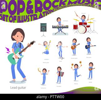 A set of Surgical Doctor women playing rock 'n' roll and pop music.There are also various instruments such as ukulele and tambourine.It's vector art s - Stock Image