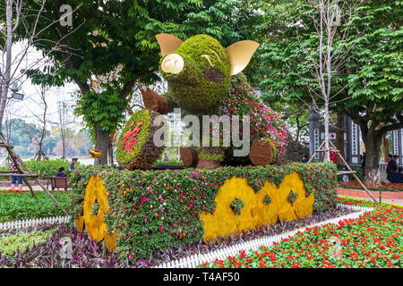 Statue of a pig as garden decoration to celebrate the year of the pig in the Vietnamese New Year, Old Quarter, Hanoi, Vietnam, Asia - Stock Image