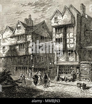 Old houses formerly standing in Butcher's Row, London, England, UK in 1800. 19th century Victorian engraving circa 1878 - Stock Image