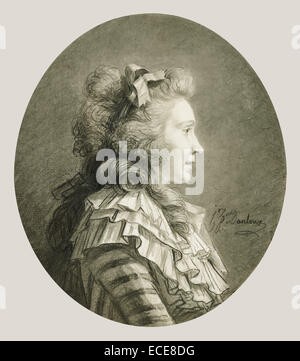 Portrait of a Young Lady in Profile; Henri-Pierre Danloux, French, 1753 - 1809; France, Europe; about 1783 - 1785; - Stock Image