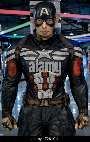 Wax figure. Captain America, Louis Tussaud's waxworks Pattaya Thailand - Stock Image