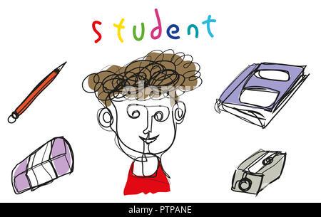 Simple line illustration student.   Simple line illustration student with book, pencil, sharpener, eraser - Stock Image