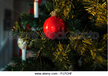 Christmas tree with lights and red ornament. - Stock Image
