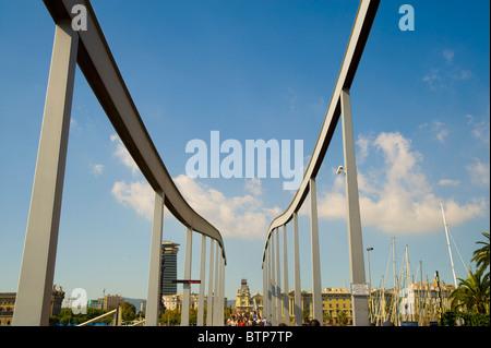 Swing Bridge, Port Vell, Barcelona, Spain - Stock Image