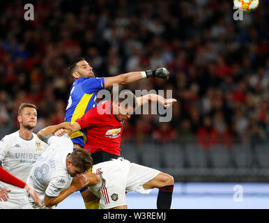 Optus Stadium, Burswood, Perth, W Australia. 17th July 2019. Manchester United versus Leeds United; pre-season tour; Kiko Casilla of Leeds United punches the ball clear of the box to clear the Manchester attack Credit: Action Plus Sports Images/Alamy Live News - Stock Image