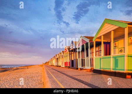 Beach huts in early morning light at Southwold, Suffolk. - Stock Image