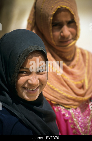 Young teen Bedouin girls, Sinai Peninsula, Egypt, Africa - Stock Image