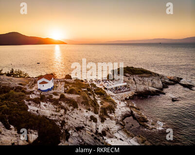 Beautiful sunset in Thassos or Thasos, Greek Island in the Aegean Sea - Stock Image