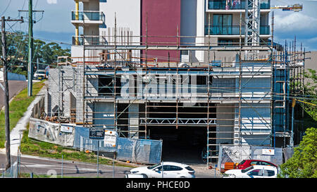 Gosford, Australia - December 3. 2017: Building progress on a block of new home units under construction at 47 Beane St. New South Wales, Australia. - Stock Image