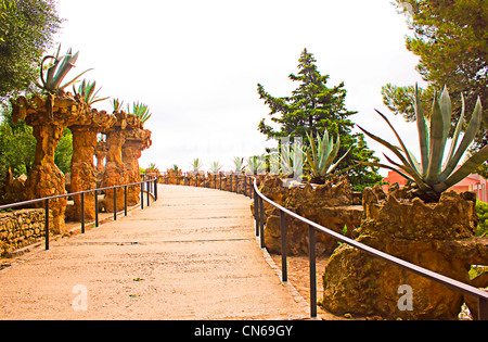 The famous park Guell in Barcelona, Spain. - Stock Image