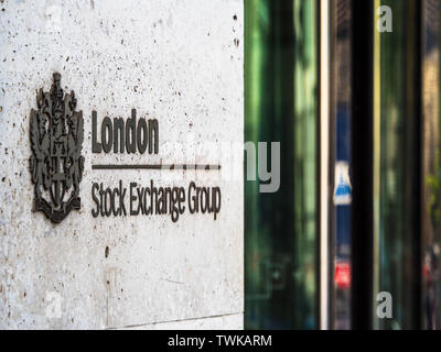 London Stock Exchange - the London Stock Exchange building at 10 Paternoster Row in the City of London Financial District - Stock Image
