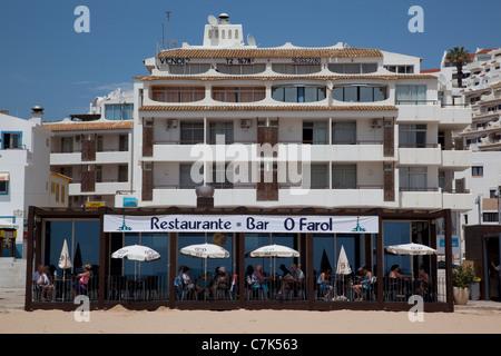 Portugal, Algarve, Albufeira, Beach & Restaurant - Stock Image