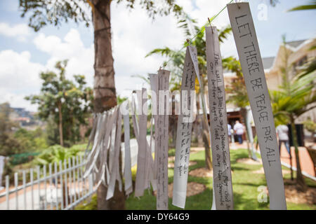 Kigali, Rwanda. 6th April 2014. Messages written on ribbons hanging outside the Kigali Genocide Memorial Centre. This week marks the 20th anniversary of the genocide against the Tutsis. During the approximate 100-day period from April 7th 1994 to mid-July, an estimated 500,000–1,000,000 Rwandans were killed, constituting as much as 20% of the country's total population and 70% of the Tutsi then living in Rwanda. Credit:  Tom Gilks/Alamy Live News - Stock Image
