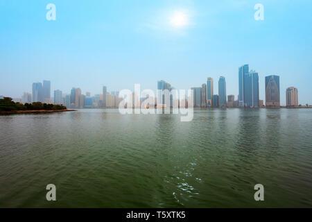 Sharjah city centre skyline in United Arab Emirates or UAE - Stock Image