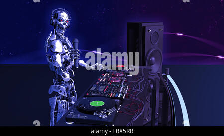DJ Robot, disc jockey cyborg with microphone playing music on turntables, android on stage with deejay audio equipment, side view, 3D rendering - Stock Image