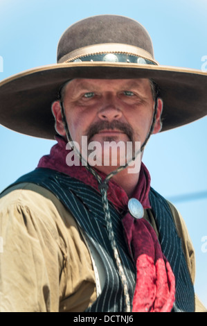 Portrait of a cowboy at the Western Days Parade, Lakeside, California, USA - Stock Image