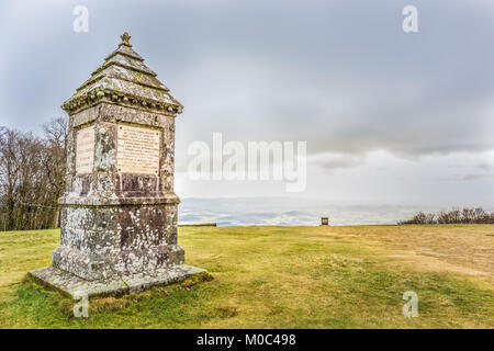 Monument on top of Mont Bouvray  in the French region Morvan on a cloudy winter day - Stock Image