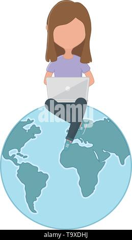 Woman with laptop design, Digital technology communication social media internet web and screen theme Vector illustration - Stock Image