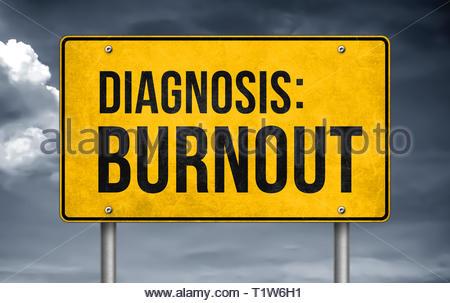 Diagnosis Burnout - road sign concept - Stock Image