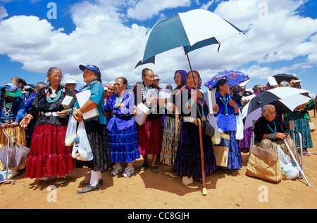 Navajo elders, women watch events at Fairgrounds during the Pioneer Day Fair at Navajo Mountain, Navajo Nation, - Stock Image