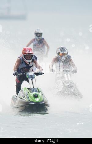 Stokes Bay, Hampshire, UK. 6th Sep, 2014. P1 Superstock final round. Stokes Bay, Gosport, Hampshire. AquaX Ski rider - Stock Image