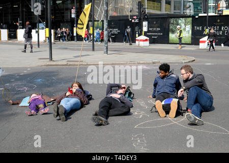 Extinction rebellion climate protesters block roads in central London - Stock Image