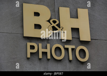 Sign and logo for B&H Photo and video store in New York City, NY, United States of America - Stock Image
