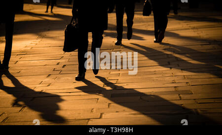 Commuters Walking Along The South Bank, London - Stock Image