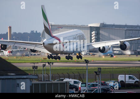 Emirates Airbus A380-861 landing at London Heathrow Airport, UK - Stock Image