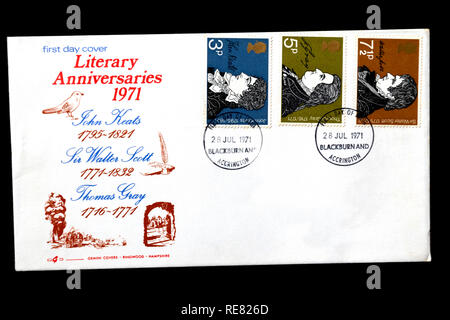 Literary Anniversaries 1971, UK first day cover. - Stock Image