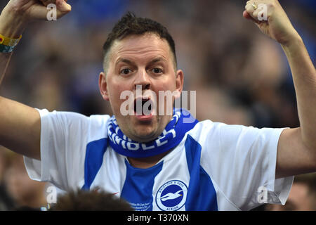 The fans kept on singing during the FA Cup Semi Final match between Brighton & Hove Albion and Manchester City at Wembley Stadium . 6 April 2019 Editorial use only. No merchandising. For Football images FA and Premier League restrictions apply inc. no internet/mobile usage without FAPL license - for details contact Football Dataco - Stock Image