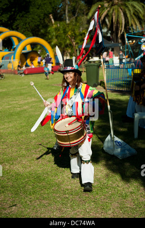 Drummer with Morris Dance troupe - Stock Image