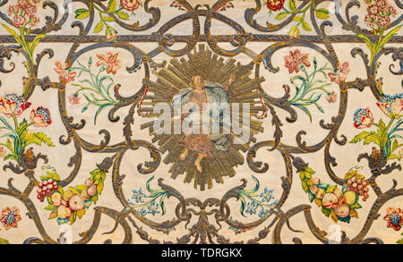 COMO, ITALY - MAY 8, 2015: The detail of tapestry on the main altar (mensa) with the Resurrected Christ in church Santuario del Santissimo Crocifisso  - Stock Image