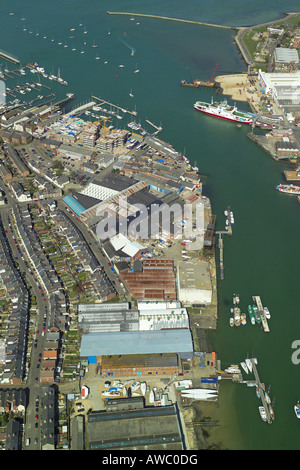 Aerial view of Cowes on the Isle of Wight featuring the boat yards, marinas and developments along the River Medina - Stock Image
