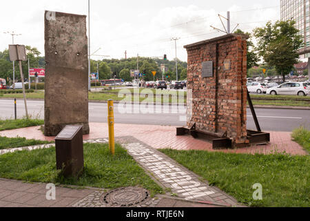 Gdansk Roads to Freedom - pieces of the Berlin Wall and Gdansk shipyard wall on display, Gdansk, Poland, Europe - Stock Image