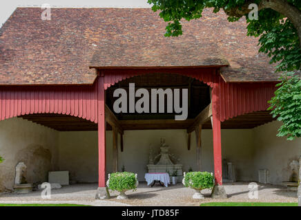 Warehouse with Marble Fountains Farm Chenonceau Castle Loire Valley France - Stock Image