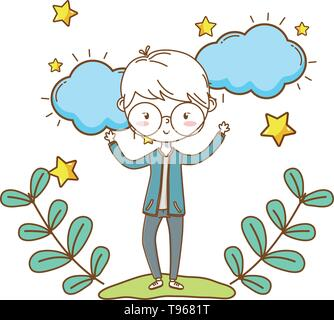 Stylish boy blushing cartoon outfit jeans jacket glasses hands up  clouds and stars background vector illustration graphic design - Stock Image
