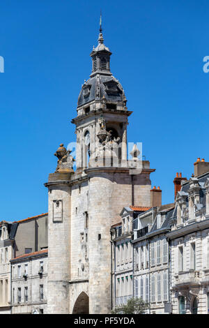 Clock Gate in the Vieux Port in La Rochelle on the coast of the Poitou-Charentes region of France. - Stock Image