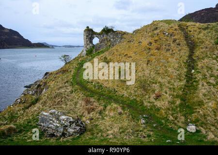Strome Castle overlooking Loch Carron, Wester Ross, Highland Region, Scotland - Stock Image