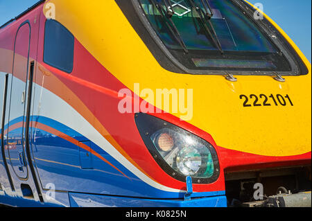 Driver cab of a class 222 passenger train operated by East Midlands trains - Stock Image