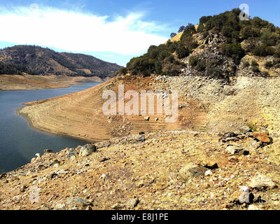 Don Pedro Reservoir, Tuolumne county, California, USA. Tuesday, October 7, 2014. The water level at Don Pedro Reservoir, - Stock Image