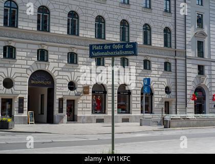 Munich, Bavaria, Germany - May 18, 2019. Sign, eternal flame, Platz der Opfer des Nationalsozialismus, Victims of National Socialism Memorial - Stock Image