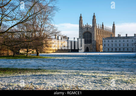 Cambridge, UK. 30th Jan, 2019. King's College, Cambridge after overnight snow, Cambridge, UK. 30th Jan, 2019. UK Weather Credit: Alan Copson City Pictures/Alamy Live News - Stock Image