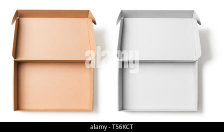 Open cardboard boxes top view set isolated on white with no shadows clipping path for both - Stock Image